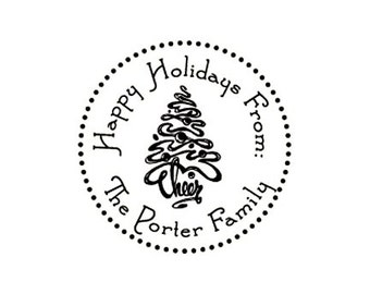 Happy Holidays Cheer Christmas Tree Custom Rubber Stamp