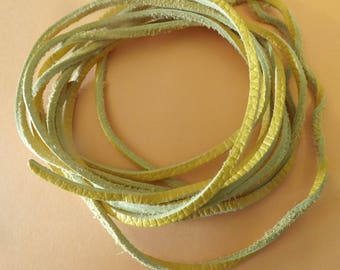 set of 2 mustard yellow leather laces