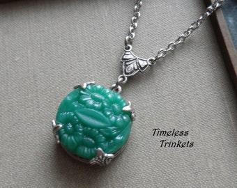 Jade Garden, Vintage Glass Button Necklace