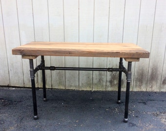 Delightful The Butchers Choice Reclaimed Wood Bar Table Pub Table Butcher Block Beam  Table