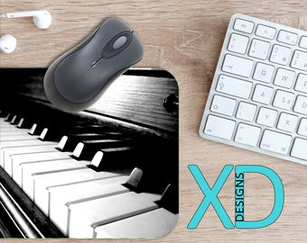 Piano Mouse Pad, Piano Mousepad, Keys Rectangle Mouse Pad, Black, White, Keys Circle Mouse Pad, Mat, Computer, Instrument, Music, Song, Sing