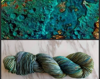 Hand Dyed Yarn, Superwash Merino Worsted Weight Variegated Yarn Perfect for Hats, Cowls, Scarves and Sweaters - Chrysocolla