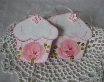 Cupcake Ornaments Hand Painted Cottage chic Pink Rose, Glitter Set of 2
