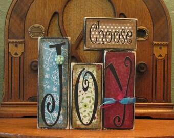 Choose Joy Inspirational Sign  Word Blocks