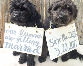 Our Humans are Getting Married Dog Wood Sign, Save the Date sign, Engagement Photo Prop