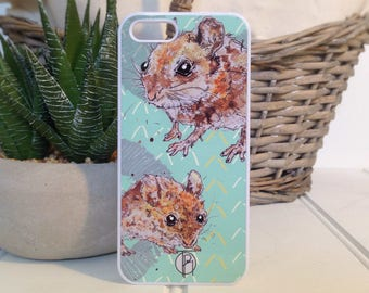 Animal Phone Case, Mouse Phone Case, iPhone 4, iPhone 5, iPhone 6, Samsung Galaxy, Illustrated, Accessories,Animal lovers, Personalised case