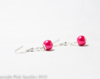 Fuchsia Pearl Earrings, Single Pearl Earrings
