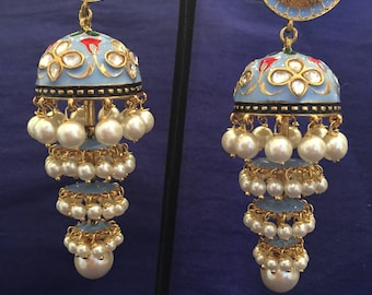 Gold Plated Light Blue Meenakari Earrings with Faux Pearls