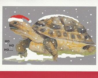 Tortoise Christmas card. Hand made card. card with a tortoise. funny tortoise christmas card. gift for tortoise lover. tortoise gift.