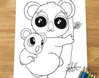 Cute Koala Bear Coloring Page Downloadable PDF File