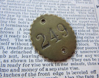 Number Tag Vintage Original Number 249 Tag #249 Antique Brass Metal Scalloped Edge Tag Jewelry Pendant Address Door Apartment Number 1900's