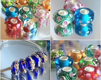 Beautiful , colorful, big hole beads, MURANO Lampwork charm Beads fit 925 silver plated European Bracelet Chain