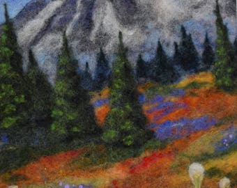 Needle Felted Landscape - Wool Landscape Art - Mountain - Flowers - Felted picture - wool painting