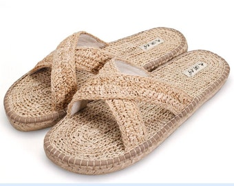 Summer new desert line of pure manual weaving linen shoes men sandals flip-flops health care massage deodorization