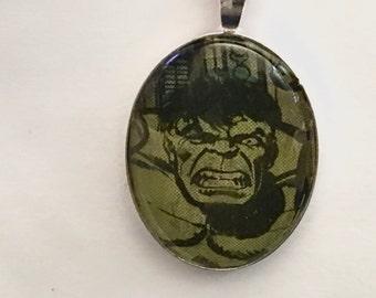 Hulk Necklace, Superhero Necklace, Comic Book Necklace, Hulk Smash
