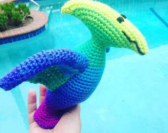 Blue Pterodactyl, Green Dinosaur, Blue Pteranodon, Flying Dinosaur, Pterodactyl Toy, Rainbow Dinosaur, Pink Dinosaur Toy, Handmade Dinosaur