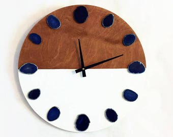Large Wall Clock, Silent Agate Wood Clock,  Home and Living, Home Decor, Decor and Housewares