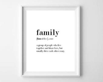 Family Definition, Family Print, Family Wall Art, Family Gift, Definition Print, Dictionary Print, Wedding Gift, House Warming Gift, Family