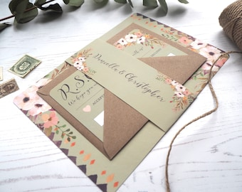 Floral Mint Wedding Invitation with matching RSVP - SAMPLE