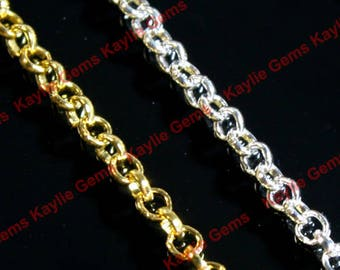 Antique Brass Oval 2x2mm Cross Link Cable Chains