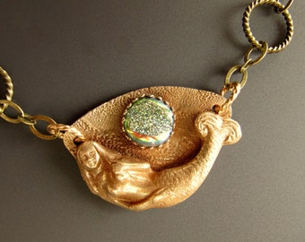 Solid Bronze Mermaid Necklace with Window Druzy Cabochon and Solid Bronze Clasp