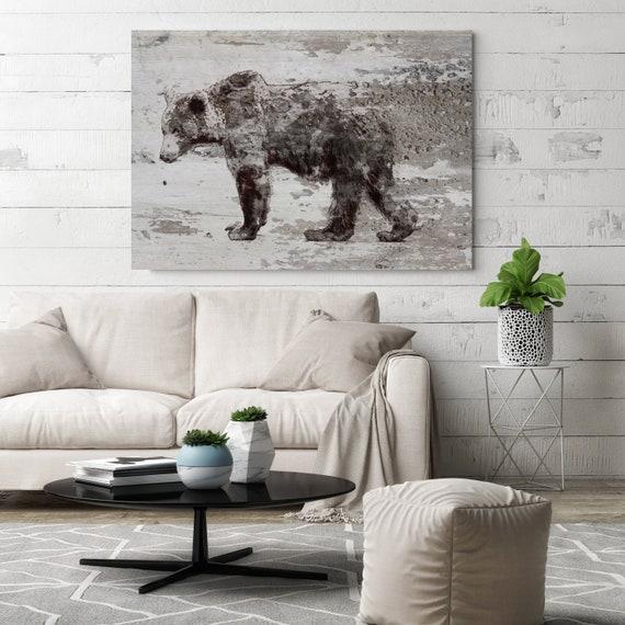 "Grizzly Bear Walking Bear Art Large Canvas, Bear Art, Black Brown Rustic Bear, Rustic Vintage Bear Wall Art Print up to 81"" by Irena Orlov"