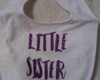 Purple glitter Lil sister bib