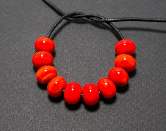 Spacer beads set, Red lampwork spacer beads, Lampwork beads, Red glass spacer, Lampwork spacer