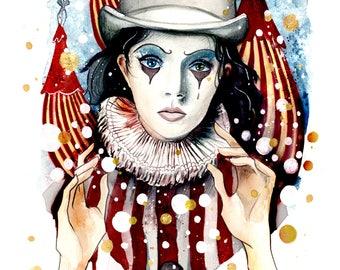 Ringleader Watercolor Art Print Circus Theme Inspired Carnival