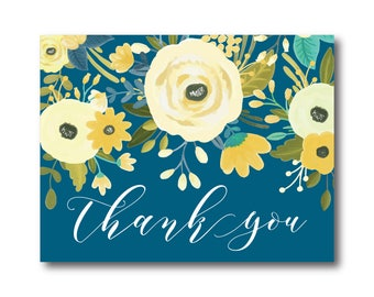 Floral Wedding Thank You Card Yellow and Blue Thank You Card Floral Wedding Spring Wedding Wedding Card Thank You Card #CL337