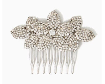Bridal Flower Comb, Silver Bridal Comb, Rhinestone Comb, Bridal Headpiece, Wedding Headpiece, Wedding Comb, Hair Jewelry,  Hair Accessories