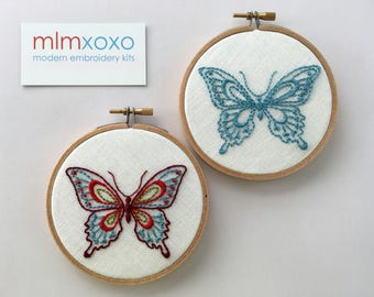 """Embroidery KIT by mlmxoxo.  Butterfly.  modern embroidery kit.  multicolored.  monochrome.  diy needle craft.  4"""" hoop art embroidery kit."""