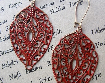 SCARLET TEMPLE Filigree Earrings Bohemian Jewelry