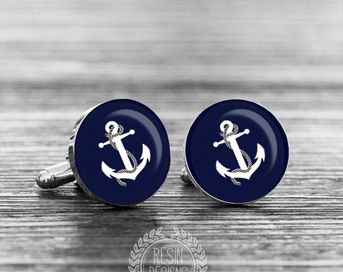 Anchor Cuff Links, Navy Cufflinks, Grooms Gift, Nautical Beach Wedding, Fiance Gift, Anniversary Gift, Custom Cufflinks