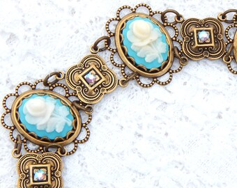 Aqua Blue Floral- Victorian Style Linked Cameo Bracelet- Morning Glory Designs