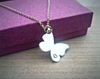 Handcut sterling silver Flutter butterfly pendant (optional personalisation)