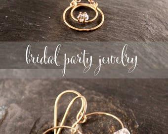 Herkimer Diamond Dangle Hoop Earrings (Gold Sterling Silver Rose Gold Raw Quartz Circle Earrings Gifts for her Under 50)