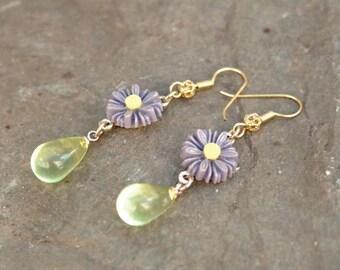 Purple Daisy Green Glass Drop Earrings