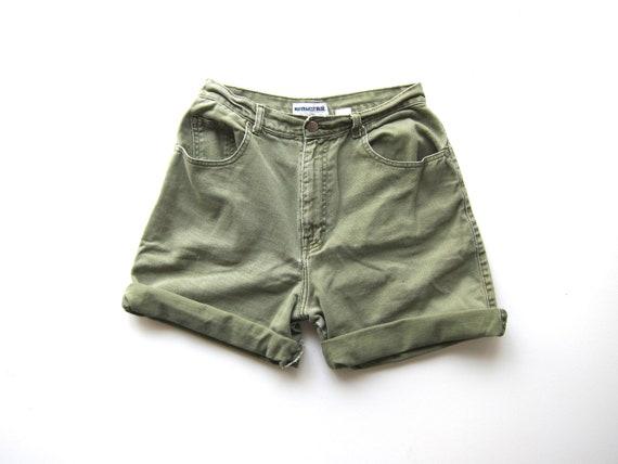 90s Green Jean Shorts High Waist Soft Cotton Denim Shorts Vintage 1990s Camp Shorts Roll Up Hiking Shorts Womens 28 inch waist Medium