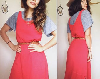 Vintage 90s // MINIMALIST TEXTURED COTTON Maxi // Simple Watermelon Pullover Sundress // Size S-M