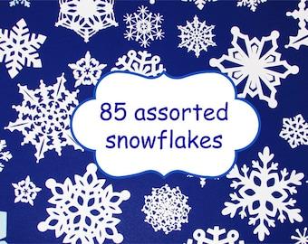 85 Assorted Paper snowflakes/ White Snowflake paper die cuts/  Snowflake cutouts /  Snowflake Paper Punch/ Paper Snowflake
