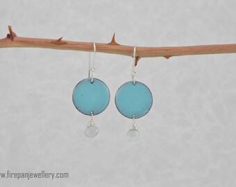 Aqua delight earrings - aquamarine drops, gemstone, kiln fired enamel, handmade, feminine, gift for her, pantone 2016, dainty, blue, fresh