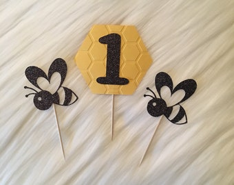 Bumbe Bee Cupcake Toppers • Bumble Bee 1st Birthday • Birthday Number • Set of 12 • Bee Party Decorations • Bumble Bee Decor