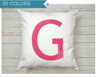 Personalized Pillow Cover, Monogram Pillow, Pink Letter pillow, letter pillowcase, initial pillow, Pink monogram, Custom, Personalized