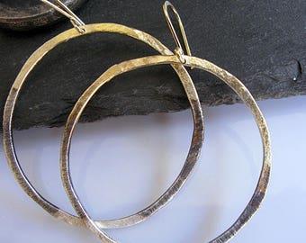 Gold Hoop Earrings Black Ombre Earring Hammered Hoop Earrings Large Black Hoop Earring Silver Hoop Earring Boho Earring 3 Inch Hoop Earring