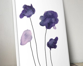 Four Eggplant Watercolor Flowers Wall Art Print - 8x10 PDF Instant Download