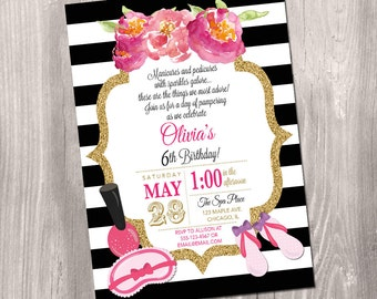 Spa party invitation, spa birthday party invite, Manicure party, girls spa party, black and white, glitter, digital, printable invitation