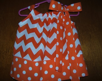Girls Orange and White Pillowcase Dress, Chevron Polka Dot, 3month-8years, Baby Girl, Toddler, University of Tennessee, 1st Birthday Outfit