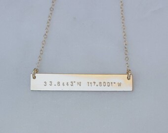 Longitude Latitude Large bar necklace/ 14K Gold filled Bar necklace/ personalized / hand stamped/ Childrens names/ Dates/ Initials/Gift