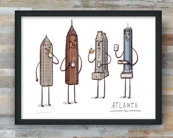 Atlanta Skyline- art print- Coffee with Atlanta
